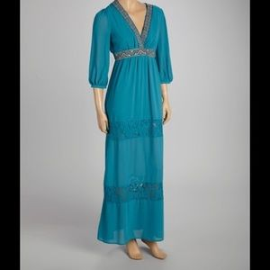 Flying Tomato teal maxi long sleeve maxi dress